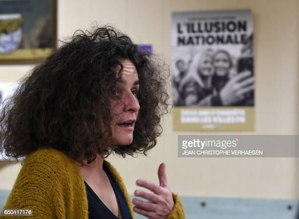 French Historian and specialist in rightwing extremism and negationism in France Valérie Igounet speaks during an interview in Hayange eastern...