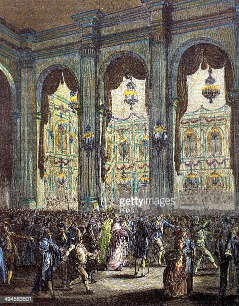 French history 18th century Masquerade ball Party hosted by the city of Paris in honor of King Louis XVI January 23 1782 Engraving of 'Paris to...