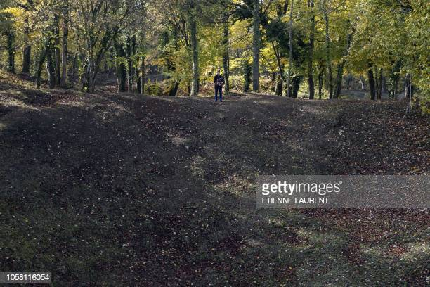 A French Honor Guard stands at Les Entonnoirs a site of mines war in Les Eparges eastern France 06 November 2018 as part of ceremonies marking the...