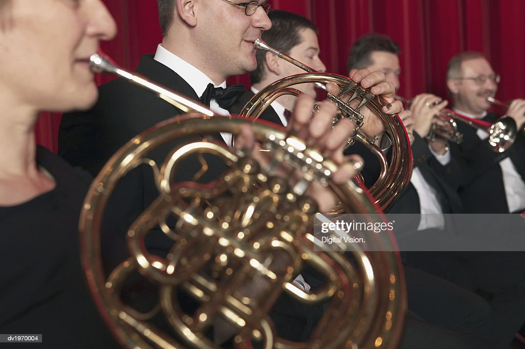 French Horn Players in an Orchestra : Stock Photo