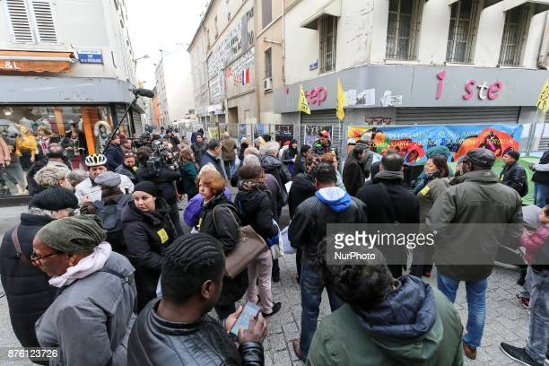 French housing association DAL protest in the northern Paris suburb of SaintDenis city center on November 18 in front of a buiding where French...