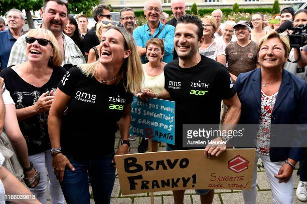 French hoverboard star Franky Zapata and his wife Krystel Zapata arrive to a press conference after he succeded to cross the Channel from France to...