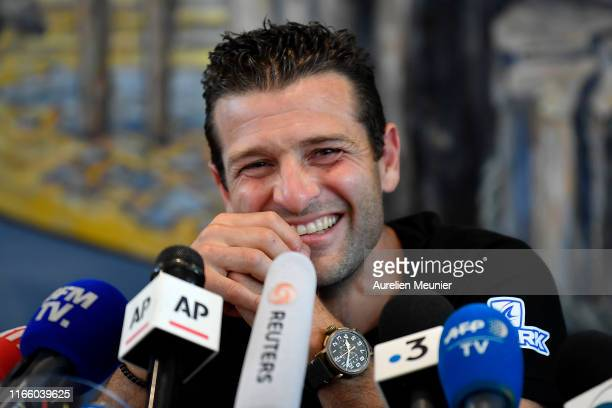 French hoverboard star Franky Zapata, answers journalists during a press conference after he succeded to cross the Channel from France to England...