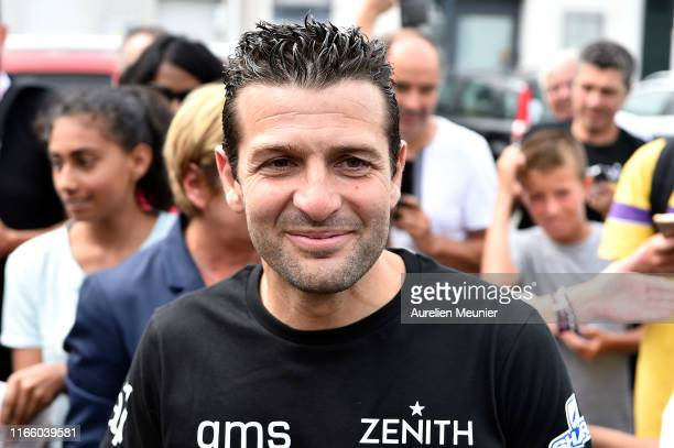 French hoverboard star Franky Zapata, arrives to a press conference after he succeded to cross the Channel from France to England using a hoverboard...