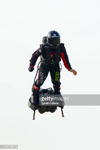 French hoverboard star Franky Zapata takes to the air to cross the Channel from France to England using a hoverboard on July 25 2019 in Calais France...