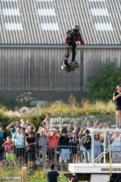 French hoverboard star Franky Zapata takes to the air to cross the Channel from France to England using a hoverboard on July 25, 2019 in Calais,...