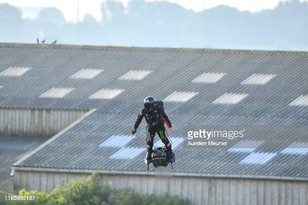 French hoverboard star Franky Zapata takes to the air to cross the Channel from France to England using a hoverboard on August 4th, 2019 in Calais,...