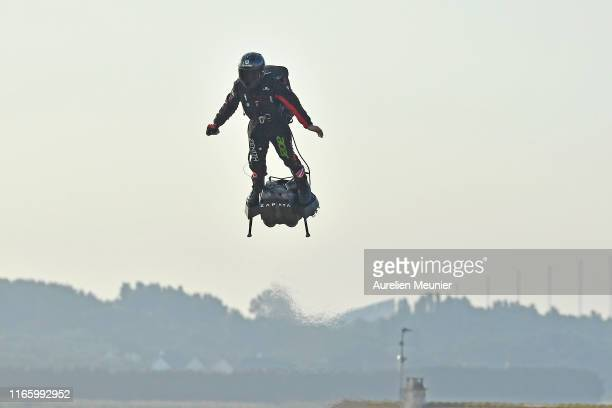 French hoverboard star Franky Zapata takes to the air to cross the Channel from France to England using a hoverboard on August 4th 2019 in Calais...
