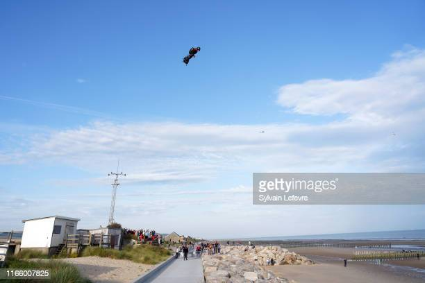 French hoverboard star Franky Zapata takes to the air to cross the Channel from France to England using a flying hoverboard aka Flyboard on August...