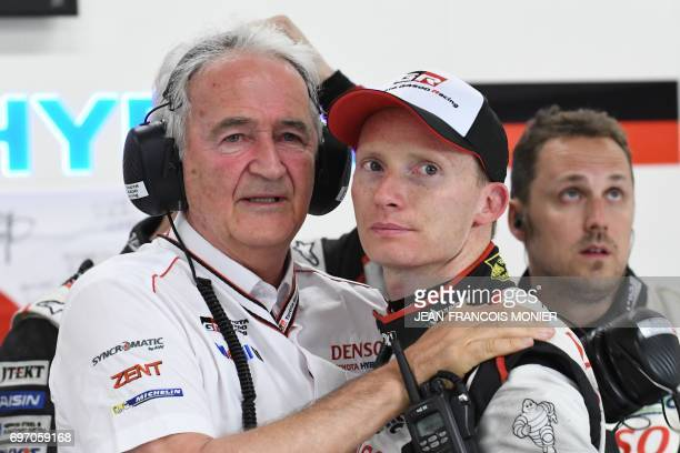 French Hugues de Chaunac President of ORECA technical partner of Toyota and English driver Mike Conway react after the abandonment of Toyota TS050...