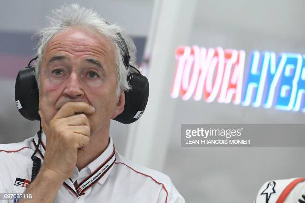 French Hugues de Chaunac President of ORECA technical partner Toyota reacts after the abandonment of Toyota TS050 Hybrid N°7 and Toyota TS050 Hybrid...