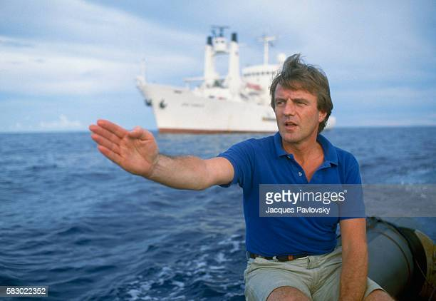 French humanitarian Dr Bernard Kouchner President of Doctors Without Borders gestures during the rescue operation of Vietnamese boat people on the...