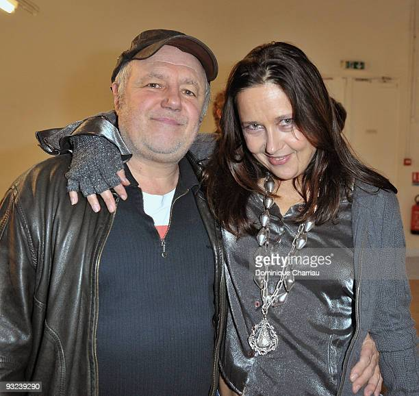 French Humorist Actor and Director Marc Jolivet attend with his girlfriend at the Exhibition Launch in Palais de Tokyo at Palais De Tokyo on November...
