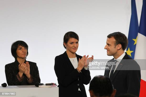 French humorist and patron of the association 'Women Safe' Florence Foresti and French Junior Minister for Gender Equality Marlene Schiappa applaud...