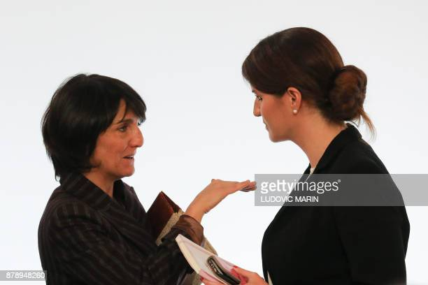 French humorist and patron of the association 'Women Safe' Florence Foresti talks with French Junior Minister for Gender Equality Marlene Schiappa...