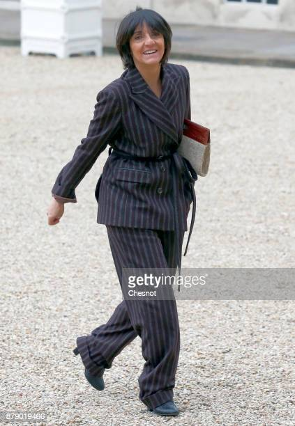 French humorist and patron of the association 'Women Safe' Florence Foresti arrives for a meeting as part of the International Day for the...