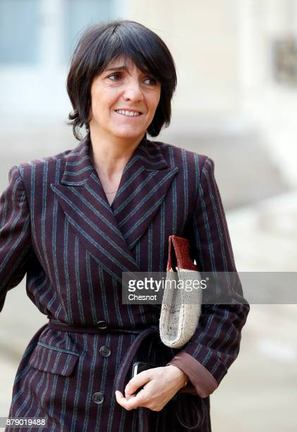 French humorist and patron of the association 'Women Safe' Florence Foresti leaves the Elysee Palace after a meeting as part of the International Day...