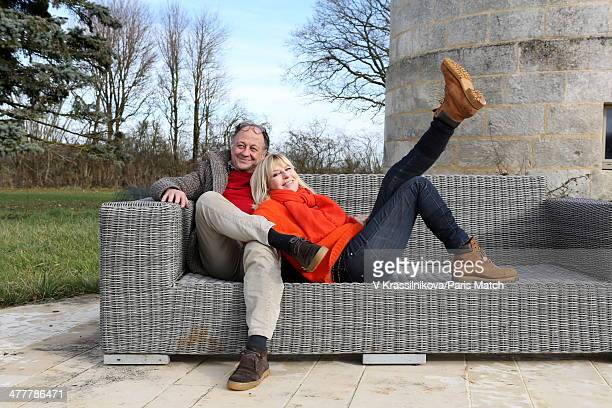 French humorist Chantal Ladesou and her husband Michel are photographed for Paris Match on january 22 2014 in Burgundy France