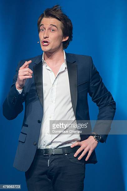 French Humorist Jeremy Charbonnel performs on stage during the 30th International Festival MontBlanc D'Humour on March 19 2014 in...