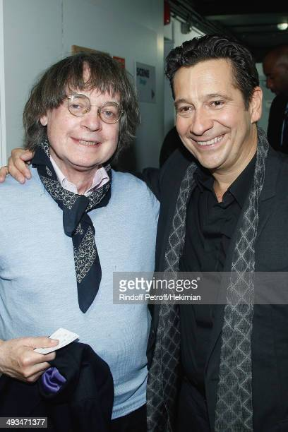 French humorist Laurent Gerra who celebrates his 25 year career and French cartoonist Cabu are pictured after the Laurent Gerra show at Theatre du...