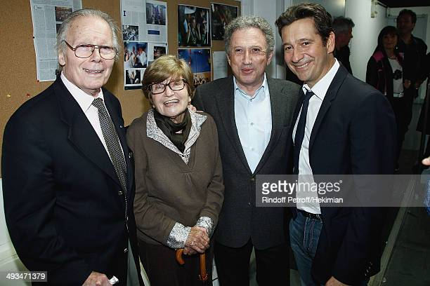 French humorist Laurent Gerra who celebrates his 25 year career his pictured with French actor Jean Piat his wife Francoise Dorin and Michel Drucker...