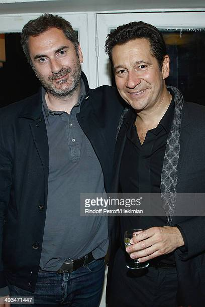 PARIS FRANCE MAY 22 French humorist Laurent Gerra who celebrates his 25 years carreer and french director Xavier Giannoli are pictured after the...