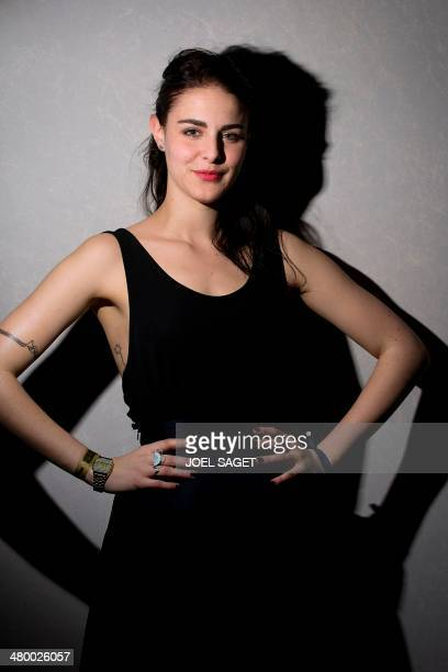 French humorist Marion Seclin known as Mady and from humorists collective Studio Bagel poses prior to the first broadcast of the Web Comedy Awards on...