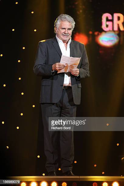 French humorist Roland Magdane speaks onstage before he receives the 'Grand Prix de l'Humour' during the 'Grand Prix SACEM 2012' at Casino de Paris...