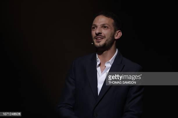 French hunorist Vincent Dedienne hosts the SACEM Grand Prix awards ceremony on December 10 2018 at the Salle Pleyel de Paris
