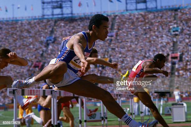 French hurdler Stephane Caristan during the men's 110m hurdles of the 1984 Olympics