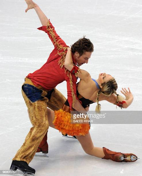 French ice dancers Nathalie Pechalat and Fabian Bourzat perform during their training session ahead of the 2010 Winter Olympics ice dance competition...