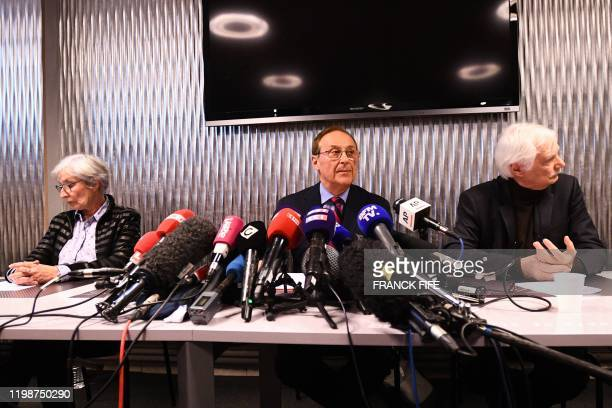 French ice sports federation president Didier Gailhaguet delivers a speech during the press conference at the headquarters of the French Federation...