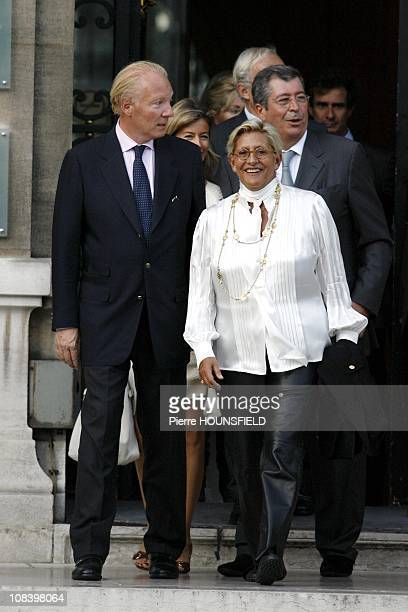 French Immigration Minister Brice Hortefeux his wife Patrick and Isabelle Balkany in NeuillysurSeine France on September 10th 2008