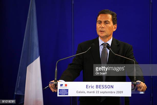 French Immigration Minister Eric Besson addresses a press conference on the destruction of the migrant camp known as 'The Jungle' adjacent to a ferry...