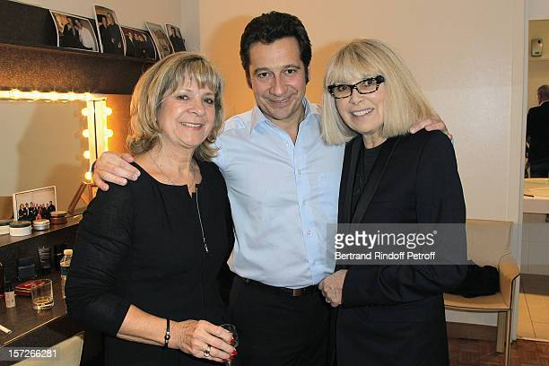 French impersonator Laurent Gerra poses with his mother Nicole and actress Mireille Darc in Gerra's dressing room following his One Man Show at...