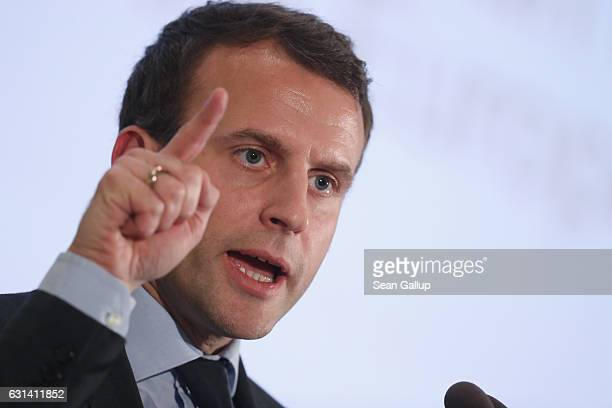 French independent presidential candidate Emmanuel Macron speaks to students at Humboldt University on January 10, 2017 in Berlin, Germany. Macron, a...