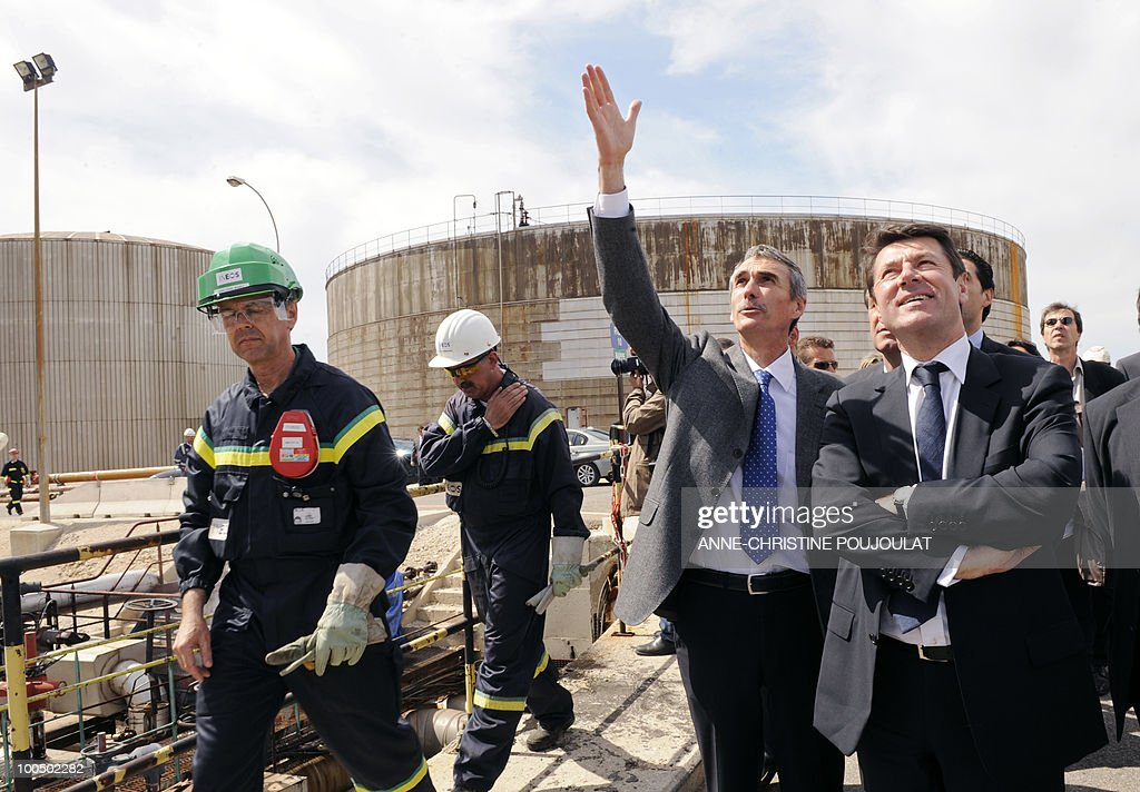 French Industry Minister Christian Estrosi (R) visits British group Ineos mediterranean refinery of Lavera in Martigues, southern France, on April 26, 2010.