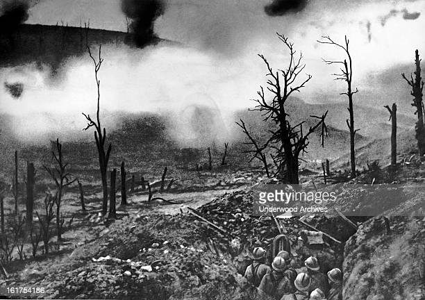 French infantry facing a curtain of fire in front of Fort Vaux Verdun Verdun France June 1916