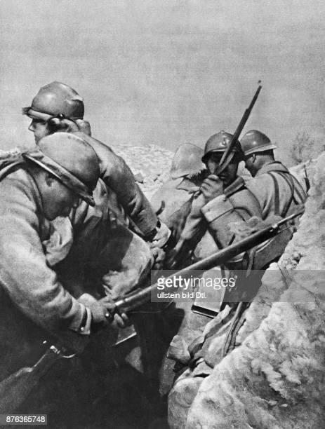 French infantry in their tranches preparing to repel a German counterattack on the Chemin des Dames in the North of France The Illustrated London News