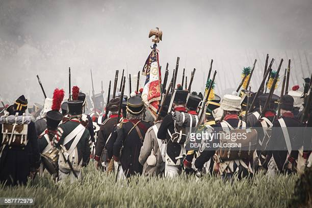 French infantry on the battlefield at Waterloo 1815 Napoleonic wars 19th century Historical reenactment