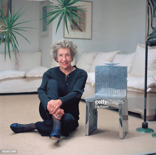 French interior designer Andrée Putman at home in Paris with a steel chair created by Paul Mathieu and Michael Ray in 1986 Paris 28th September 1999