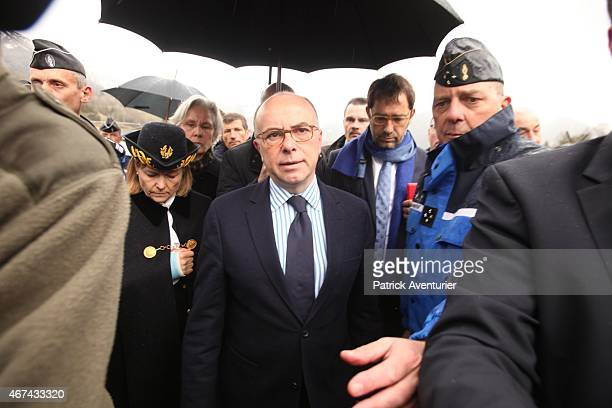French Interior Minister Bernard Cazeneuve arrives near the site of the Germanwings plane crash near the French Alps on March 24 2015 in La Seyne les...