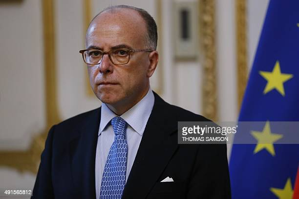 French Interior minister Bernard Cazeneuve holds a press conference after a meeting on last flood and bad weather in the AlpesMaritimes region on...