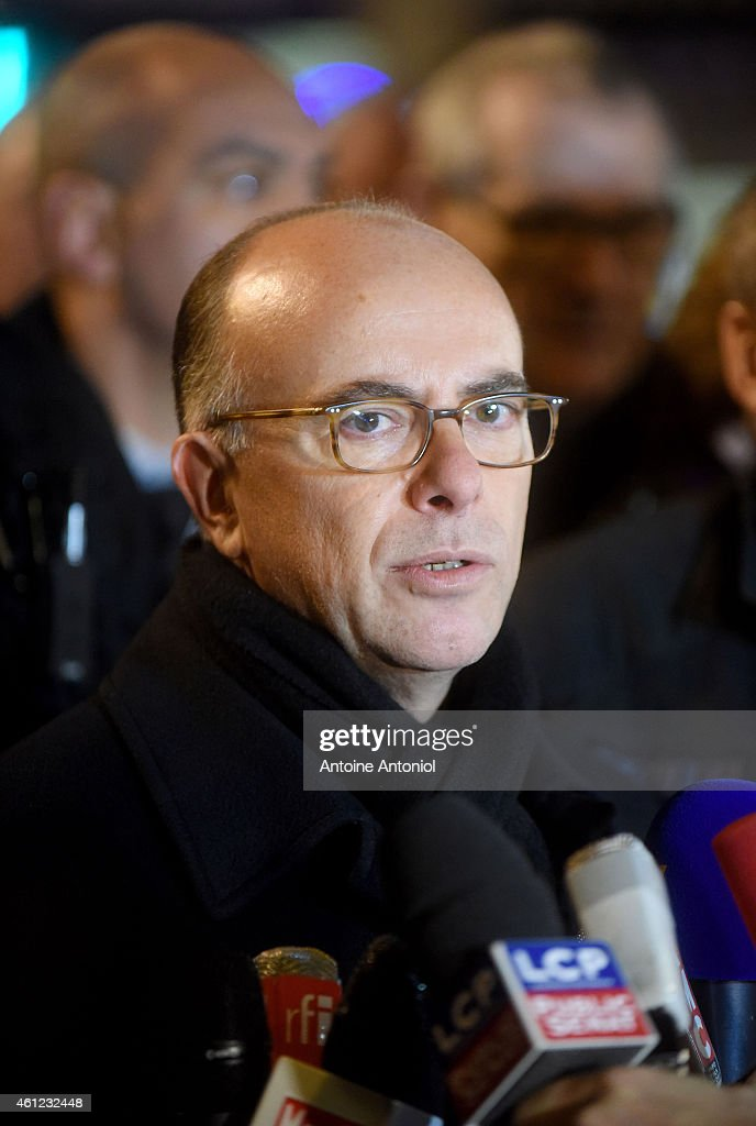 French Interior Minister Bernard Cazeneuve speaks to the media after a hostage situation in a kosher deli at Port de Vincennes on January 9, 2015 in Paris, France. Police have stormed the kosher deli where at least five people were taken hostage in the Port de Vincennes area of Paris. A huge manhunt for the two suspected gunmen in Wednesday's deadly attack on Charlie Hebdo magazine has entered its third day.