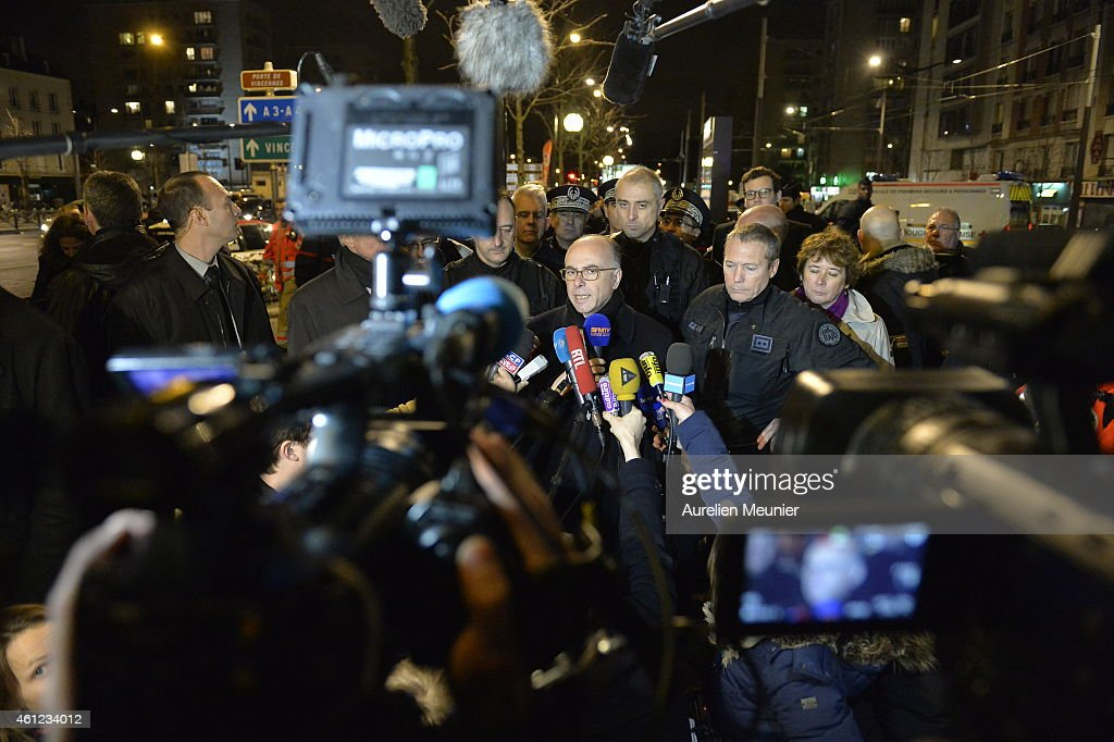French Interior Minister Bernard Cazeneuve speaks to the media after a hostage situation in a kosher deli at Port de Vincennes on January 9, 2015 in Paris, France. Police stormed the kosher deli where at least five people were taken hostage in the Port de Vincennes area of Paris. One gunman is believed to have been killed.