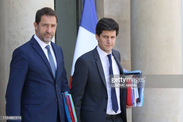French Interior Minister Christophe Castaner and French Junior Minister for Cities and Housing Julien Denormandie leave the weekly cabinet meeting at...