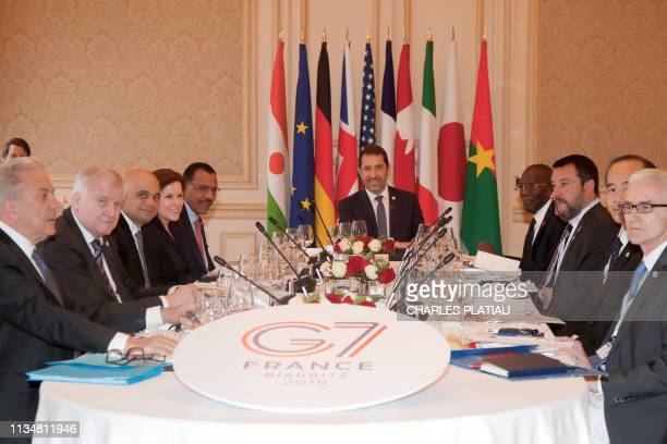 French Interior Minister Christophe Castaner and Interior ministers of G7 nations EU Commissioner of Migration and Home Affairs Dimitris Avramopoulos...