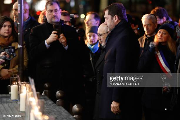 French Interior Minister Christophe Castaner and President of the Representative Council of French Jewish Institutions Francis Kalifat attend a...
