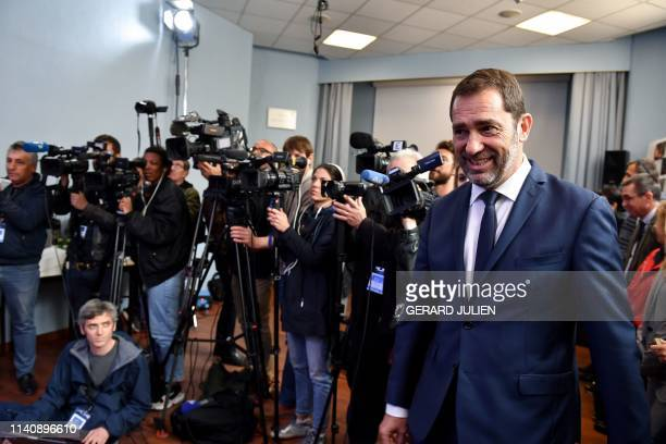TOPSHOT French Interior Minister Christophe Castaner arrives to give a press conference to the police headquarters in Toulon southern France on May 3...