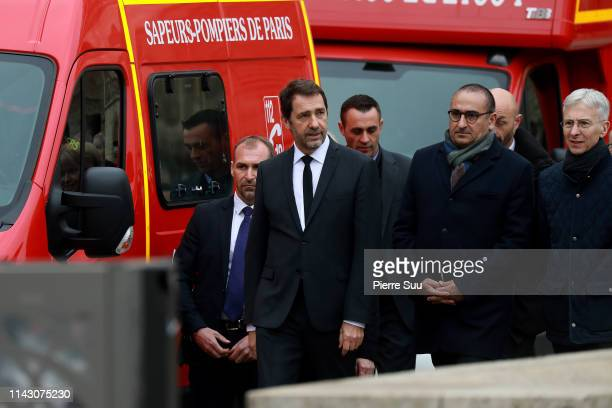 French Interior Minister Christophe Castaner at the site of NotreDame Cathedral following a major fire yesterday on April 16 2019 in Paris France A...
